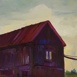 Black Barn, 20 x 17 cm, oil on perspex on wood, 2021